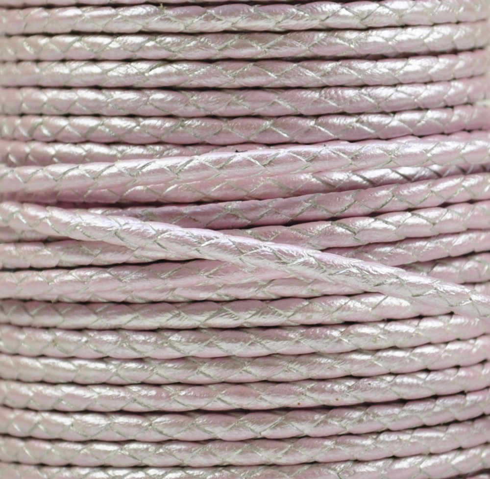 Braided Leather Cord Ø 3 mm Rosa with metallic Luster, per Meter