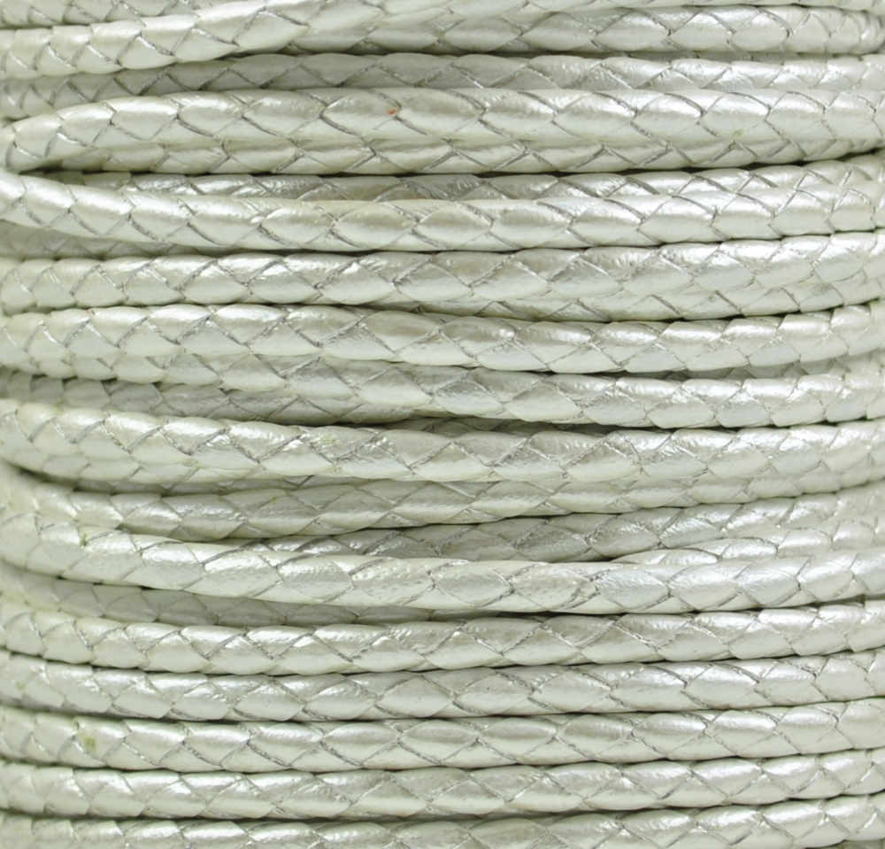 Braided Leather Cord Ø 3 mm White with metallic Luster, per Meter