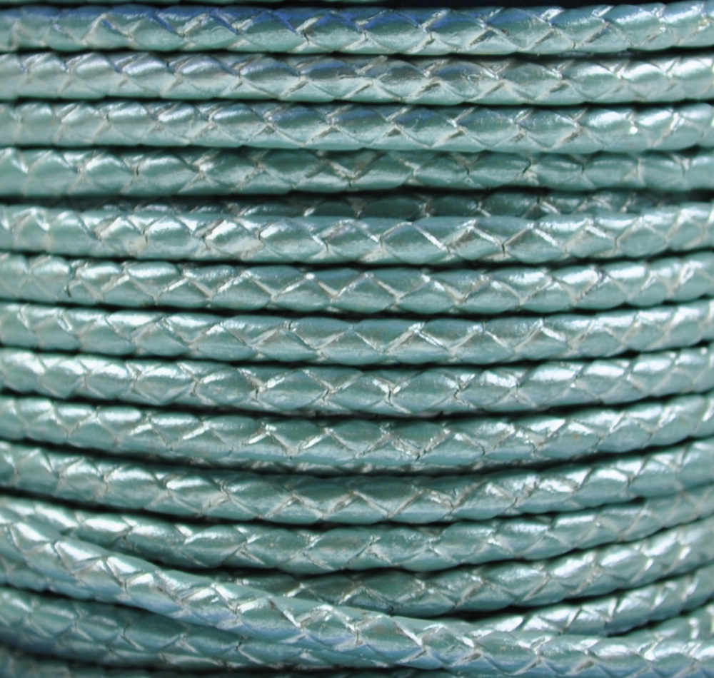Braided Leather Cord Ø 4 mm Turquoise with metallic Luster, per Meter