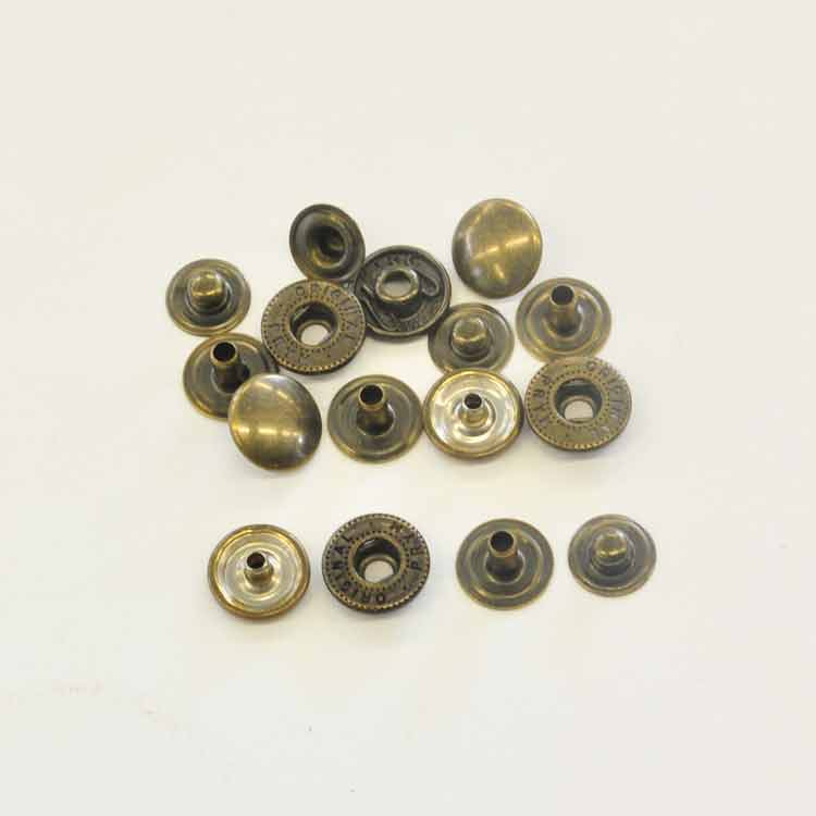 S-Spring Snaps, Antique Brass Finish over Steel, Ø cap 10.5mm, Pack of 10