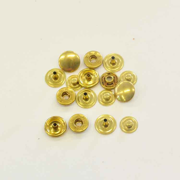 S-Spring Snaps, Brass, Ø cap 10.5mm, Pack of 10